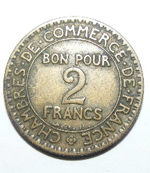 Commerce industrie 1925 bon pour 2 francs coin for Chambre de commerce de france bon pour 2 francs 1923